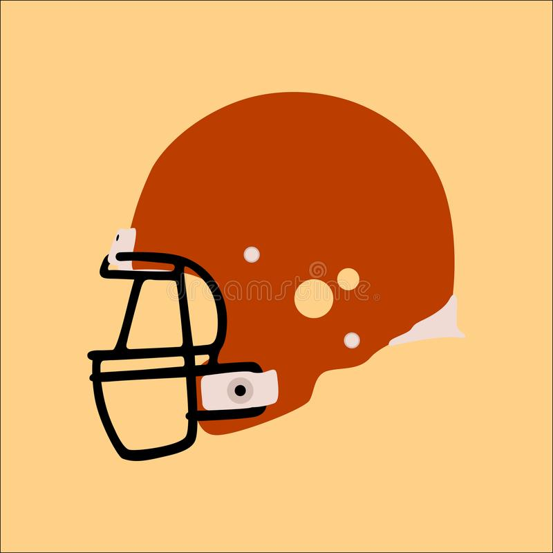 Stil för lägenhet för illustration för vektor för hjälm för amerikansk fotboll royaltyfri illustrationer