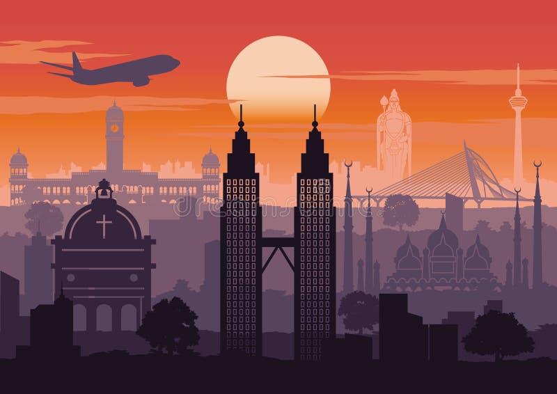 Stil för Malaysia berömd gränsmärkekontur med raddesign på solnedgångtid, tappningfärg vektor illustrationer