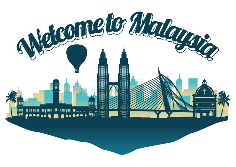 Stil för Malaysia berömd gränsmärkekontur på flöteön vektor illustrationer