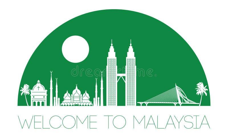 Stil för Malaysia berömd gränsmärkekontur, text inom, grön färg stock illustrationer