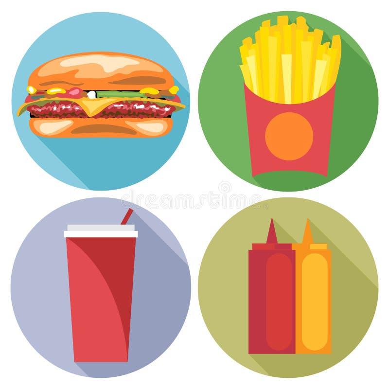 Stil för mat- och drinkuppsättninglägenhet Hamburgare, cola, chiper, ketchup och majonnäs stock illustrationer