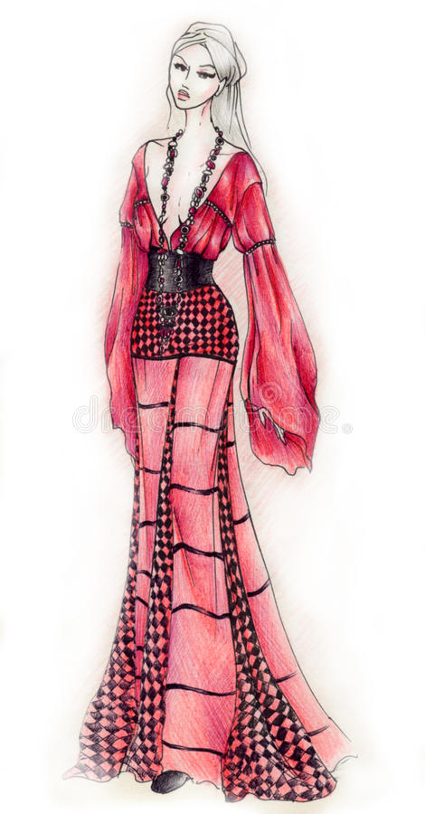 stil för modegipsyillustration stock illustrationer