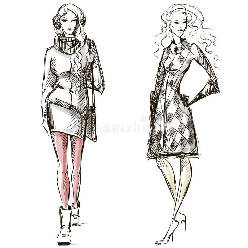 Stil för modeillustrationvintern skissar vektor illustrationer