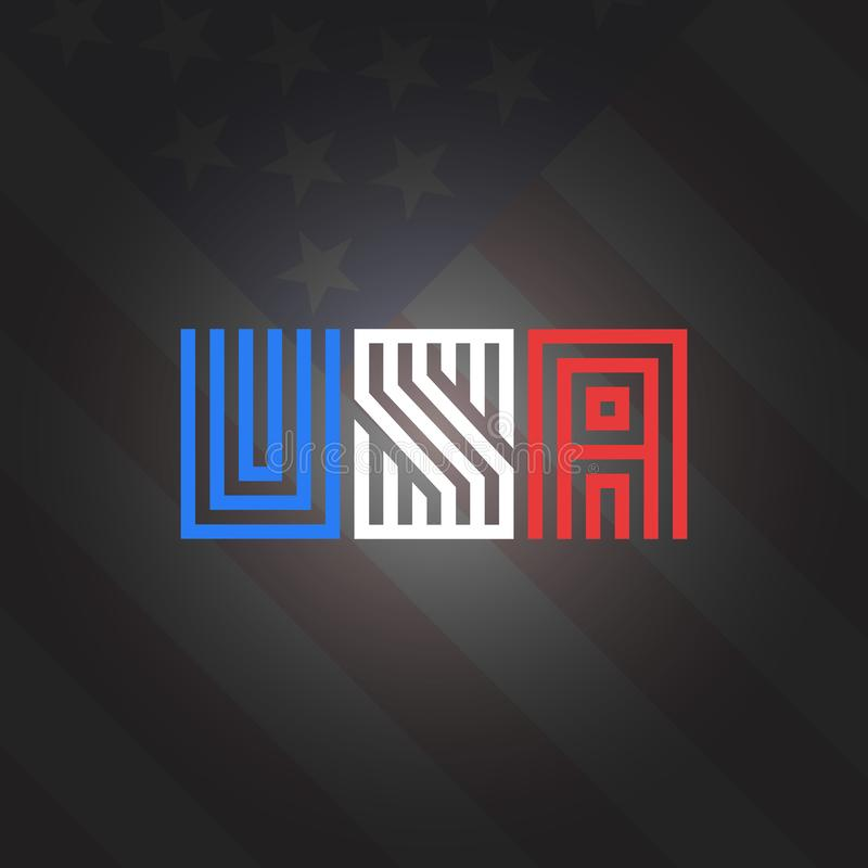Stil för monogram för förkortningsUSA inskrift i den nationella färgamerikanska flagganbakgrunden, patriotiskt emblemt-skjorta tr vektor illustrationer