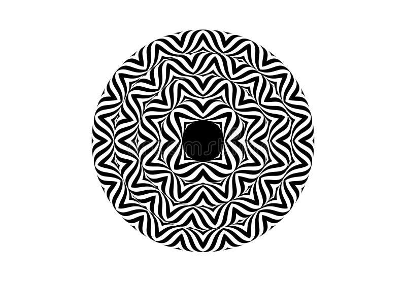 Stil för Op konst - svartvit abstrakt optisk illusion vektor illustrationer