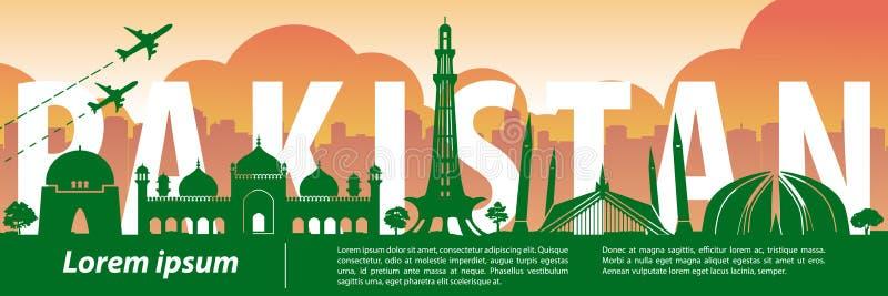 Stil för Pakistan berömd gränsmärkekontur, text inom, lopp och turism stock illustrationer