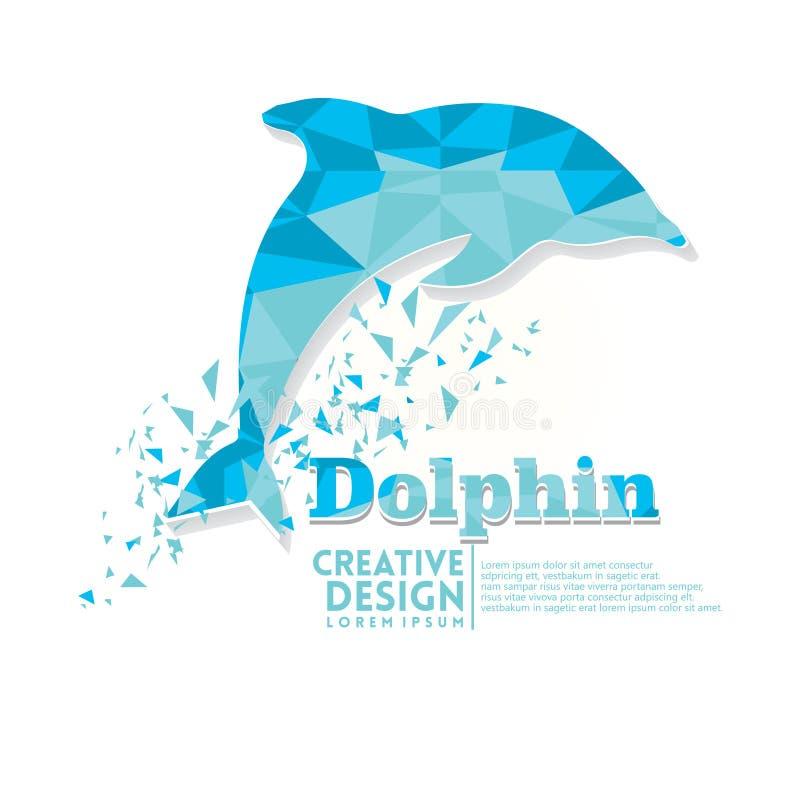 Stil för pappers- hantverk för delfin geometrisk stock illustrationer