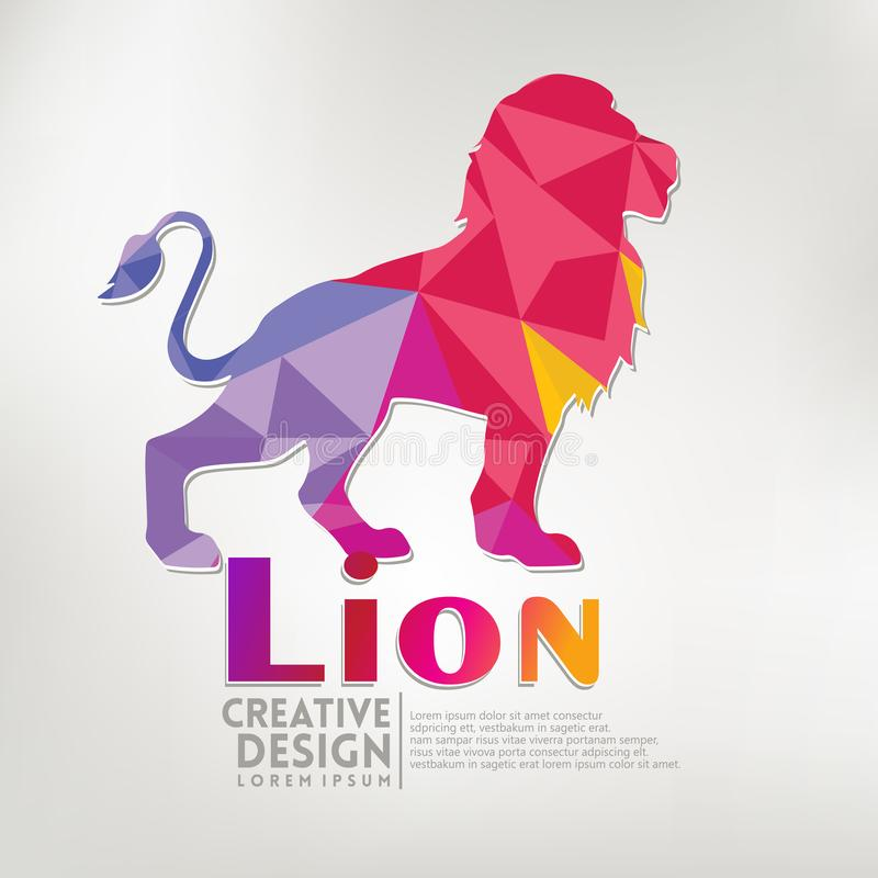 Stil för pappers- hantverk för lejon geometrisk också vektor för coreldrawillustration vektor illustrationer