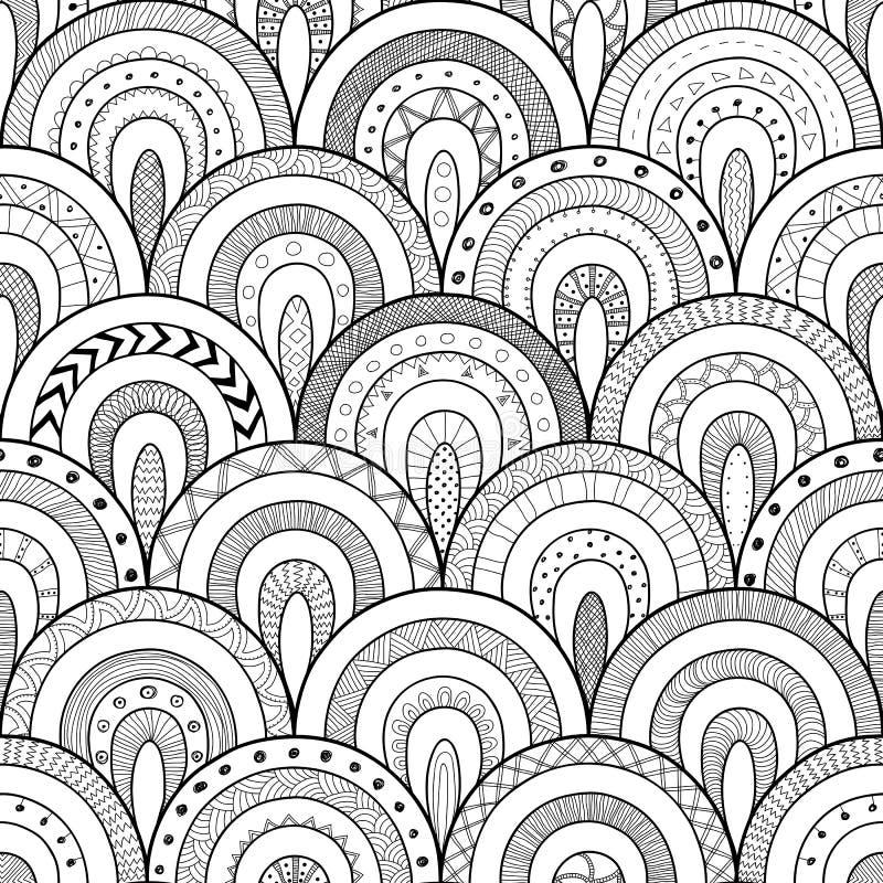 Stil för patchwork för modell, för indier eller för afrikan för stam- kontur sömlös etnisk Rundategelplattor med hand dragen text royaltyfri illustrationer