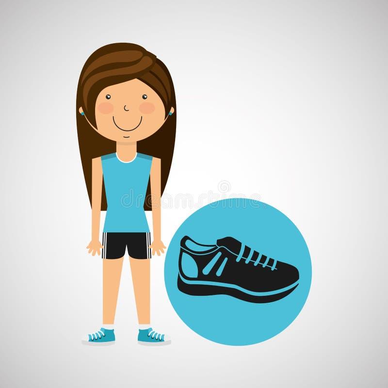 Stil för sport för idrottsman nenflickagymnastiksko stock illustrationer