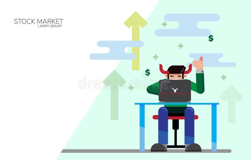 Stil för symbol för envist aktiemarknadbegrepp plan Affärsman som direktanslutet handlar i envis eller övre trendaktiemarknad och vektor illustrationer