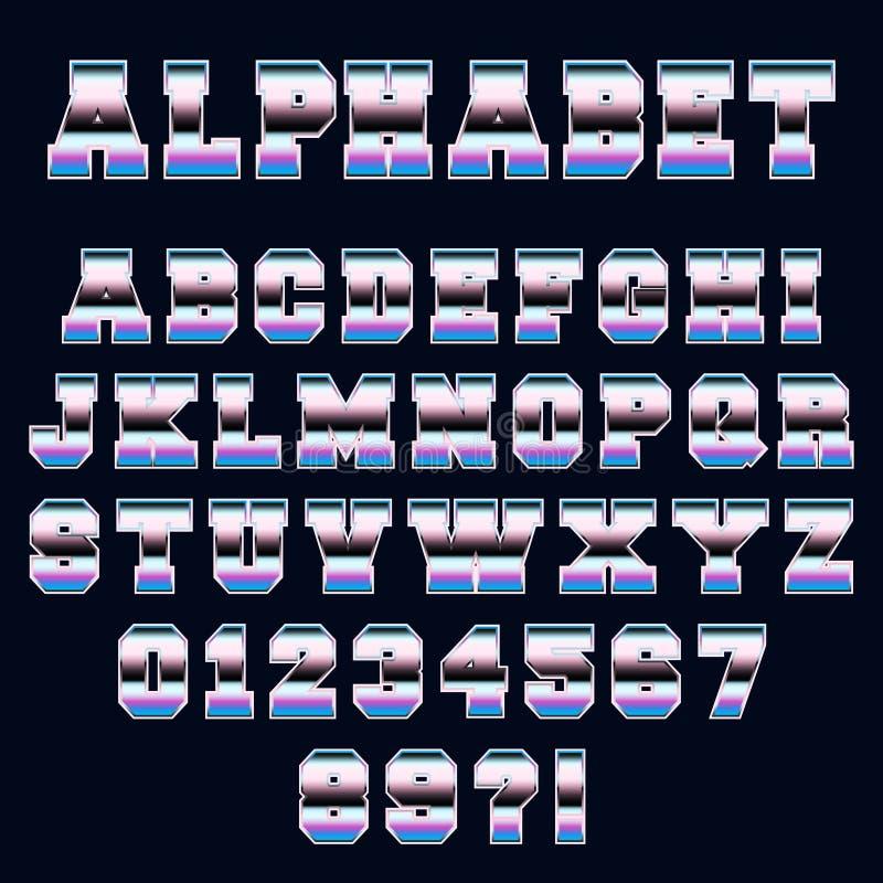 Stil för 80-tal för alfabetstilsortsmall retro vektor illustrationer