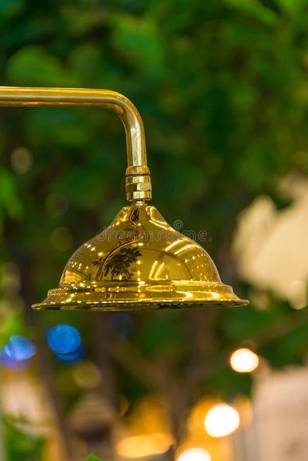 Stil för tappning för modernt guld- duschbadrum inre royaltyfri foto
