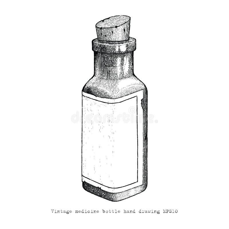 Stil för tappning för teckning för hand för tappningmedicinflaska stock illustrationer