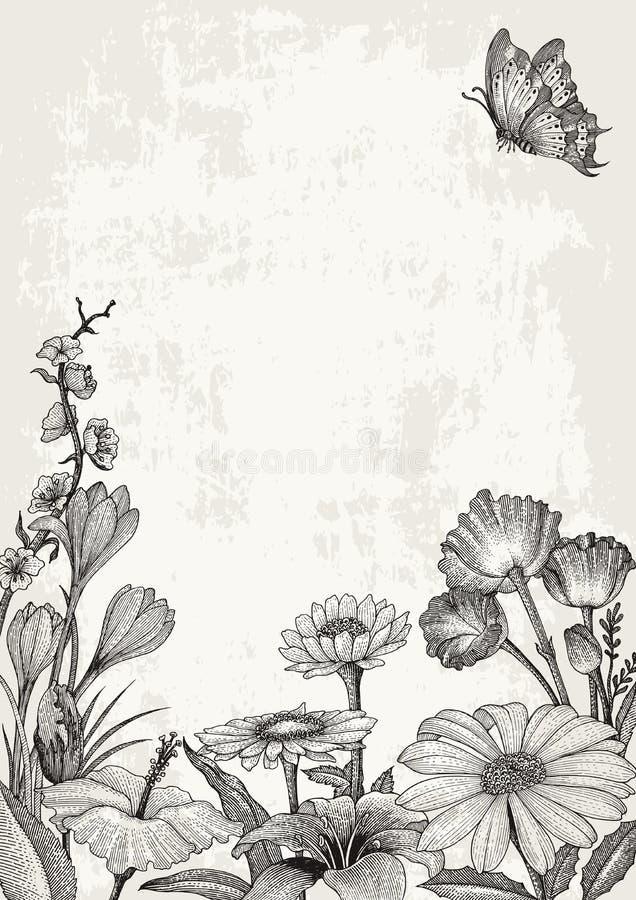 Stil för tappning för teckning för hand för vårblommaram på grungebackgr stock illustrationer