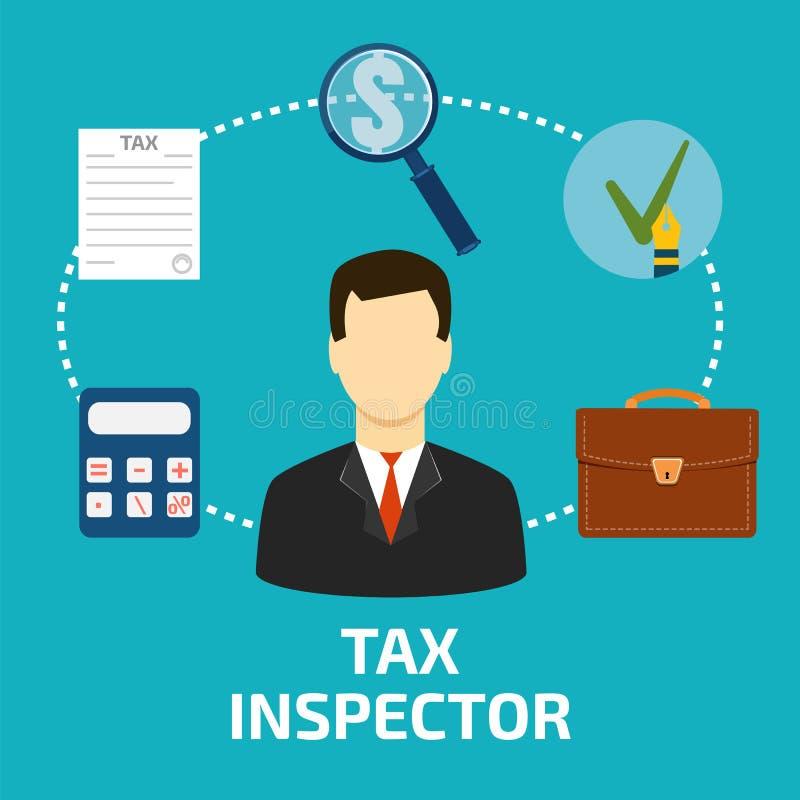 Stil för taxeringsinspektörsymbolslägenhet royaltyfri illustrationer