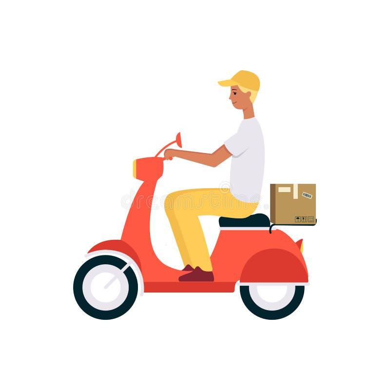 Stil för tecknad film för ask för för för manridningsparkcykel eller moped och sändning brun stock illustrationer