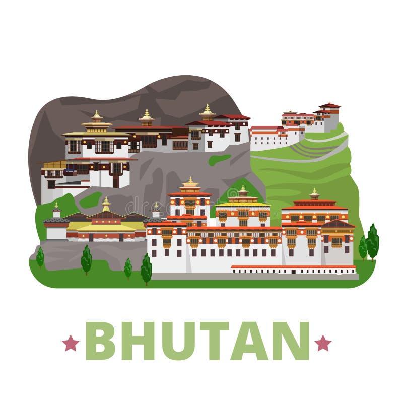 Stil för tecknad film för lägenhet för mall för Bhutan landsdesign vektor illustrationer