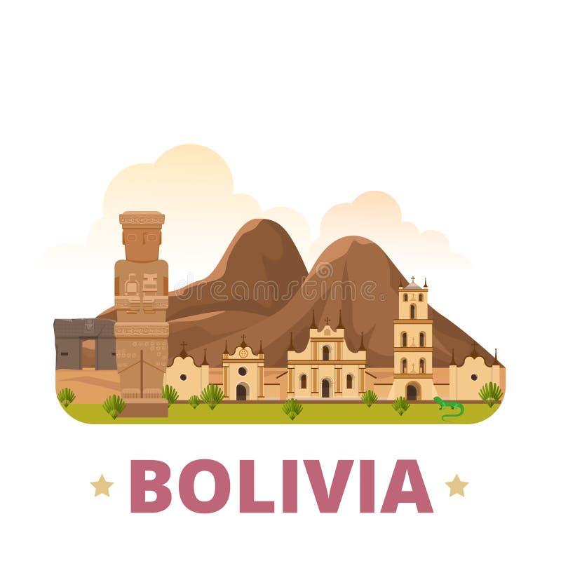 Stil för tecknad film för lägenhet för mall för Bolivia landsdesign stock illustrationer