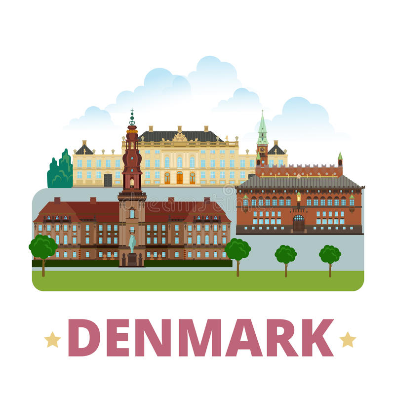 Stil för tecknad film för lägenhet för mall för Danmark landsdesign stock illustrationer