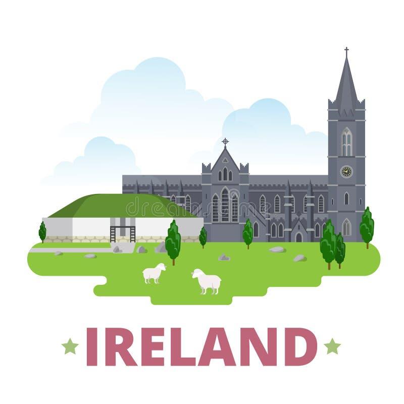 Stil för tecknad film för lägenhet för mall för Irland landsdesign royaltyfri illustrationer