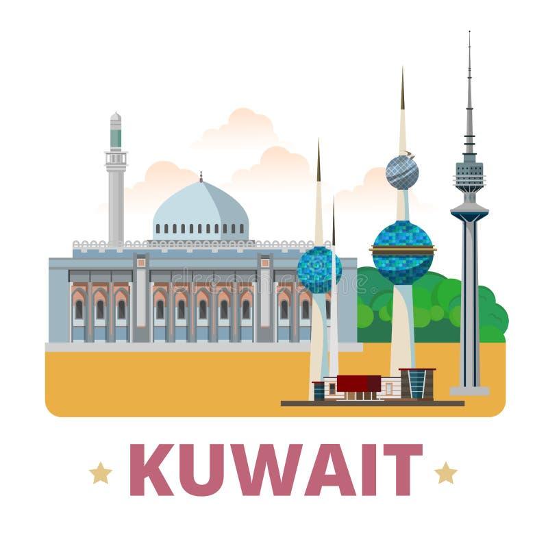 Stil för tecknad film för lägenhet för mall för Kuwait landsdesign royaltyfri illustrationer