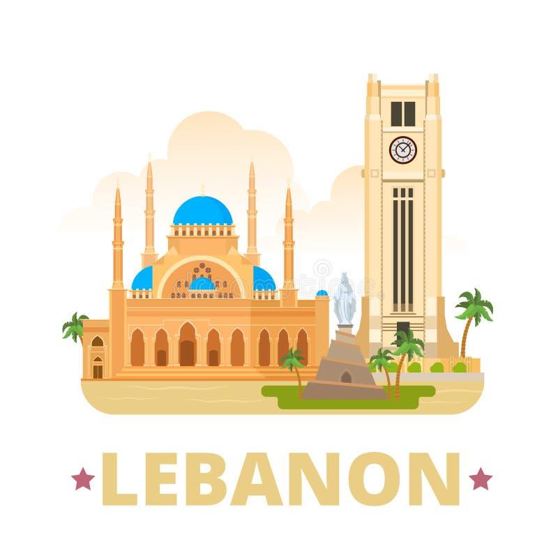 Stil för tecknad film för lägenhet för mall för Libanon landsdesign vektor illustrationer
