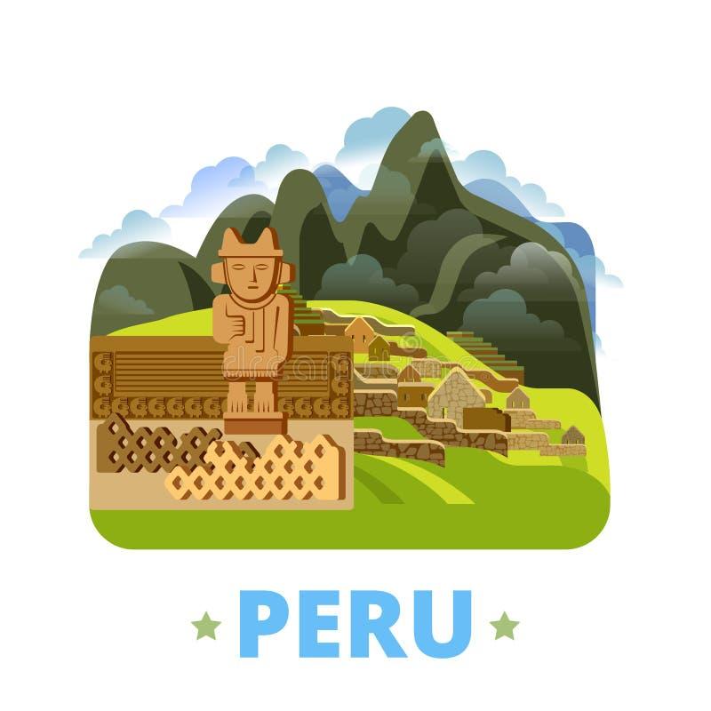 Stil för tecknad film för lägenhet för mall för Peru landsdesign oss royaltyfri illustrationer