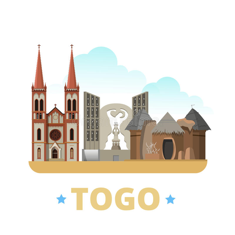 Stil för tecknad film för lägenhet för mall för Togo landsdesign oss stock illustrationer