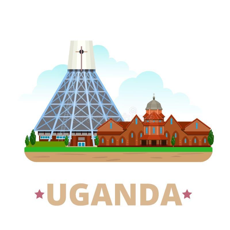 Stil för tecknad film för lägenhet för mall för Uganda landsdesign vektor illustrationer