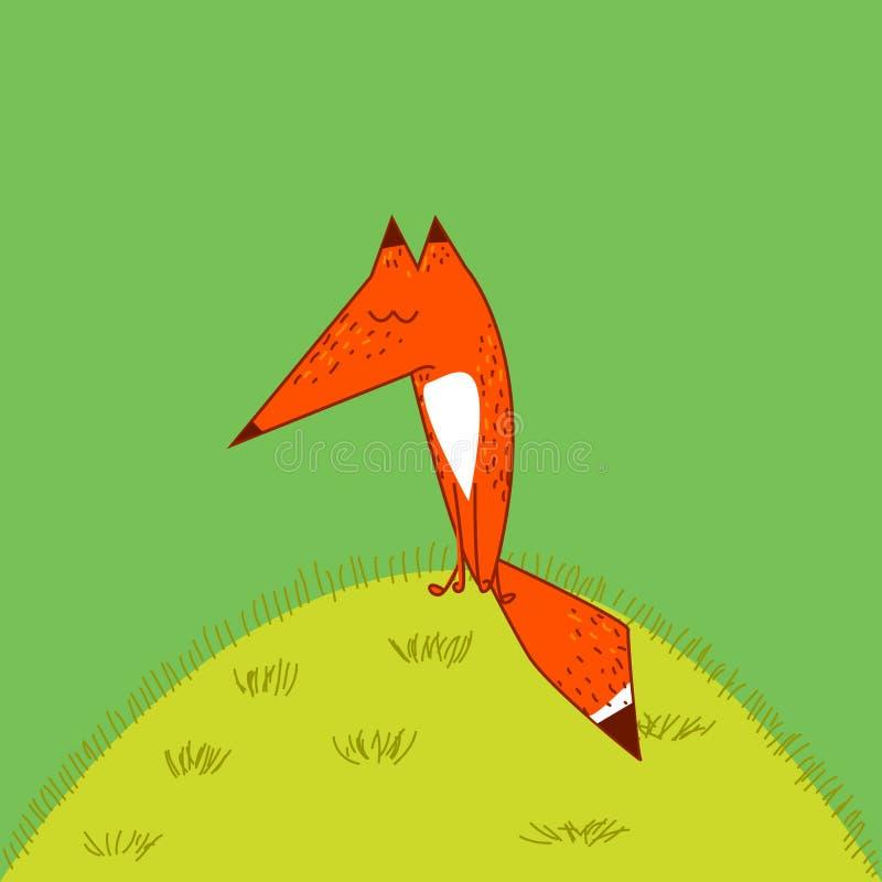 Stil för tecknad film för stor svans för röd räv gullig rolig hänsynsfullt som sover sammanträde på bakgrunden för gräsgräsplan stock illustrationer