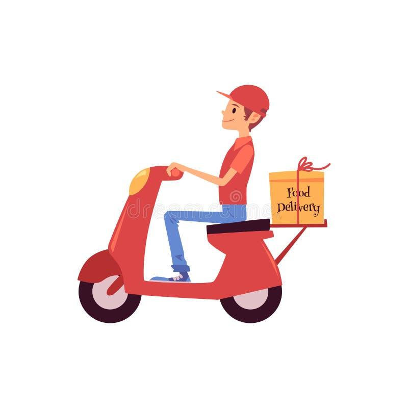 Stil för tecknad film för för moped och för sändnings för ridning för leveransman ask för sparkcykel eller stock illustrationer