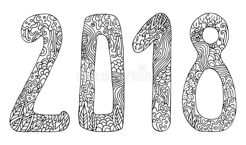 Stil för tecknad film för tecken för klotter för vektor för nytt år gullig hand dragen med nummer 2018 på bakgrund för vinterferi vektor illustrationer