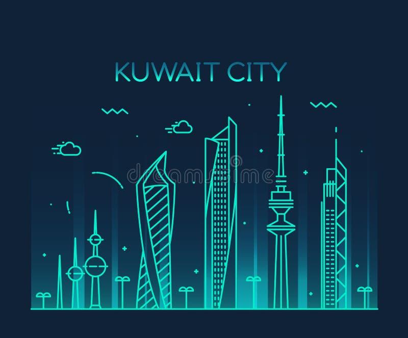 Stil för vektor för Kuwait City horisontkontur linjär royaltyfri illustrationer