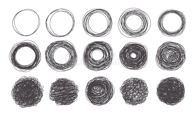 Stil för vektorgrungeklottret skissar cirkelramar stock illustrationer