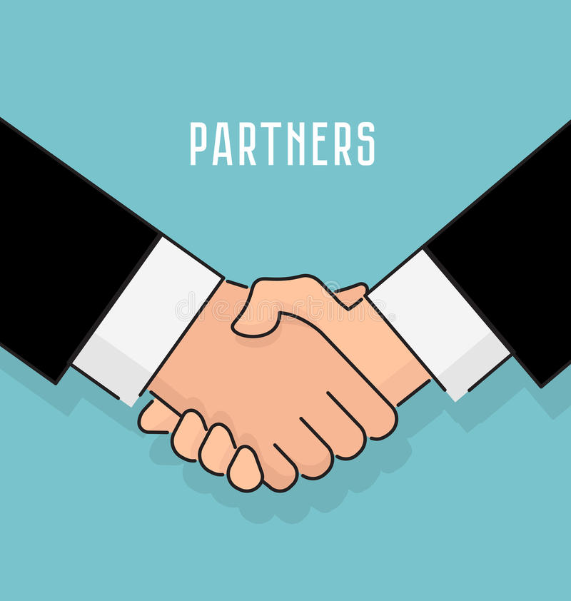 Stil för vektorillustrationlägenhet Handskakningaffärsmanöverenskommelse, partnerskapbegrepp, bakgrund för affär och finans royaltyfri illustrationer