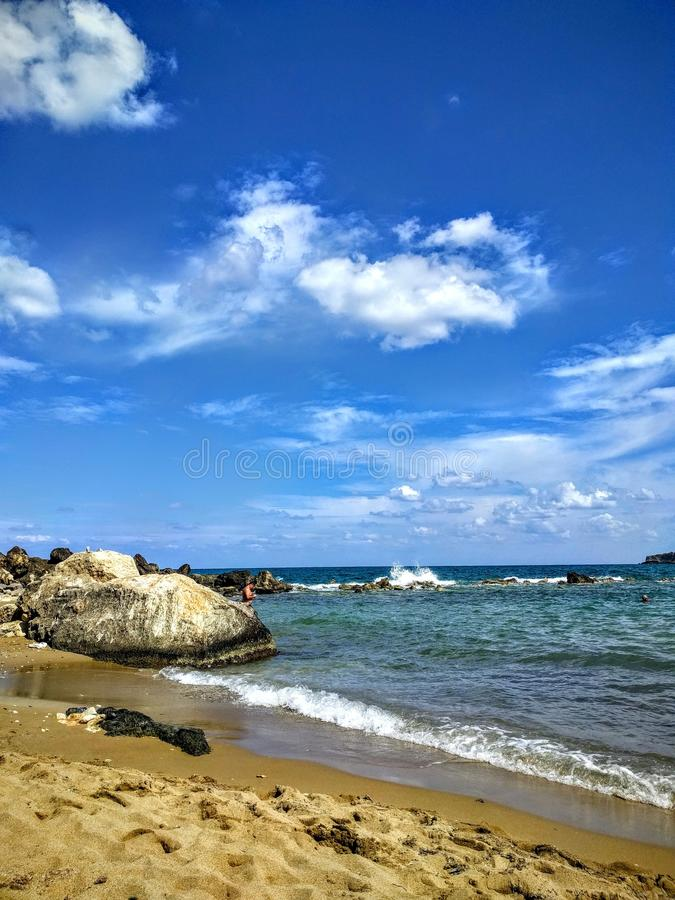 Stil strand in Kreta stock foto's