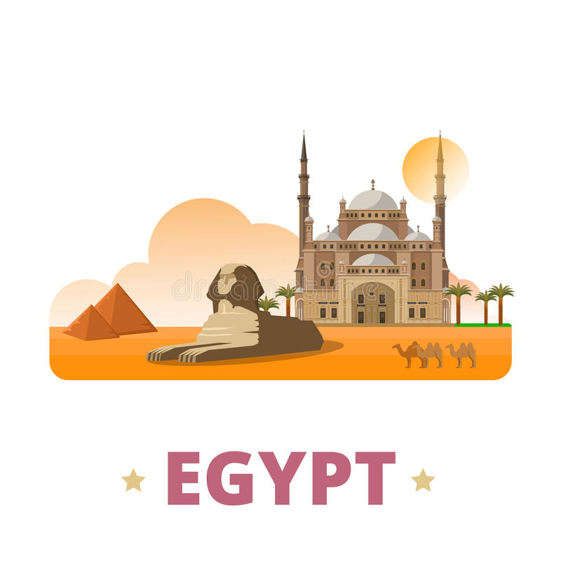 Stil w för tecknad film för lägenhet för mall för Egypten landsdesign stock illustrationer