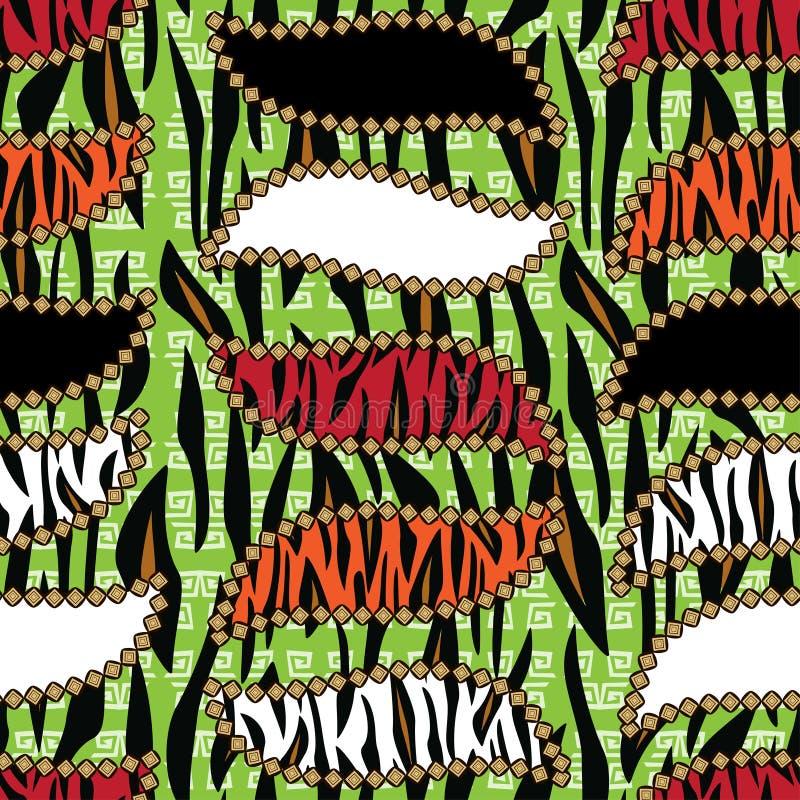 Stile africano senza cuciture con il modello della pelle della tigre illustrazione vettoriale