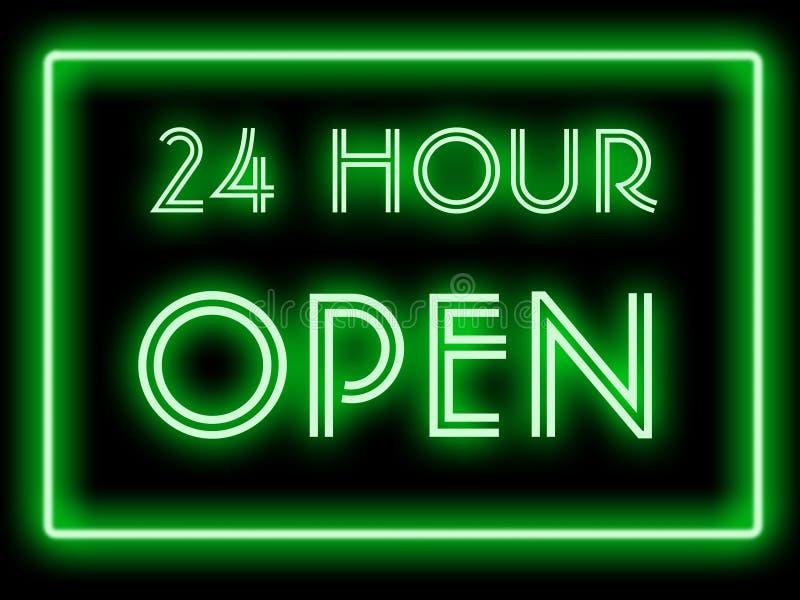 Stile al neon aperto 24 ore royalty illustrazione gratis