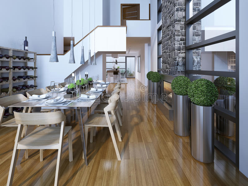 Stile alta tecnologia della sala da pranzo a due piani di lusso immagine stock libera da diritti