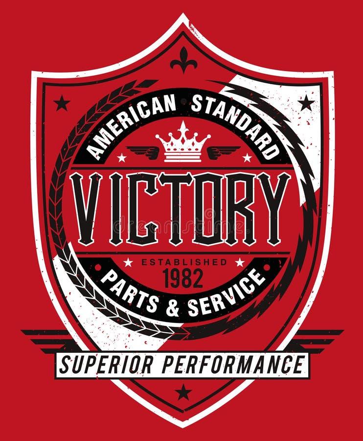 Stile americana d'annata Victory Label illustrazione vettoriale