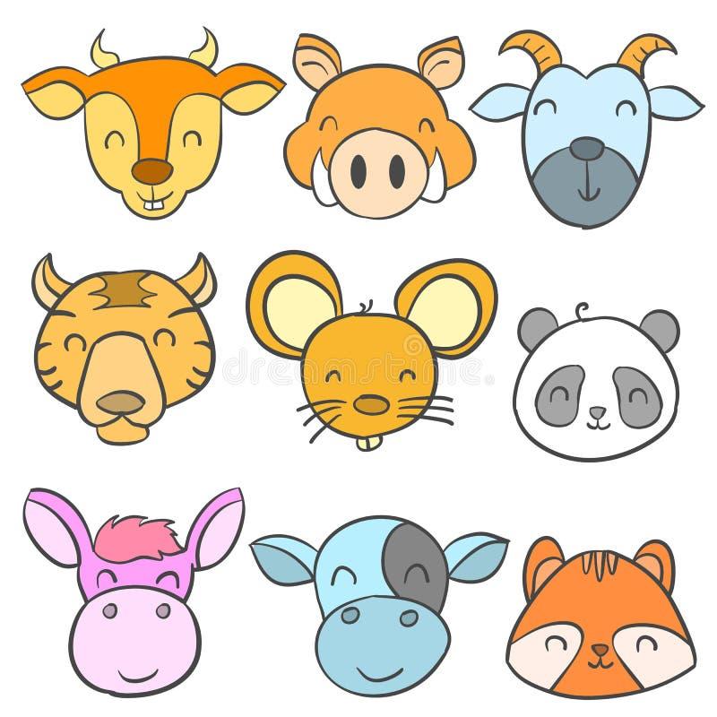 Stile animale sveglio di scarabocchio di progettazione della raccolta illustrazione vettoriale