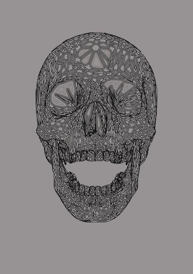 Stile anteriore di boho del disegno del cranio sulla BG bianca illustrazione di stock