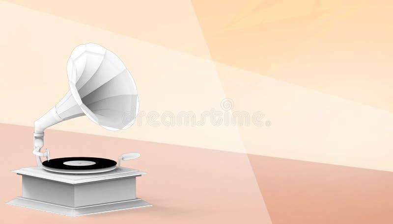 Stile antico del retro grammofono d'annata di musica e concetto di disegno sul fondo arancio di colore illustrazione vettoriale