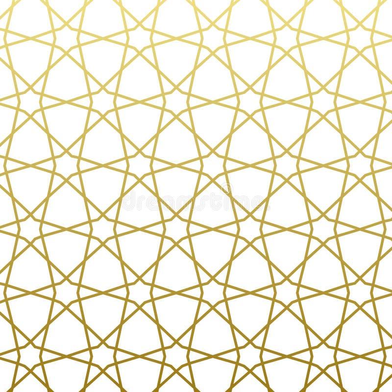 Stile arabo dell'oro del modello Fondo decorativo geometrico orientale tradizionale illustrazione di stock