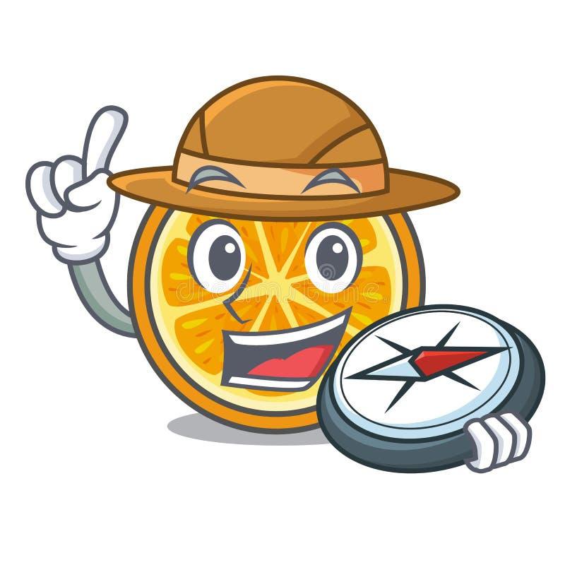 Stile arancio del fumetto della mascotte dell'esploratore illustrazione vettoriale