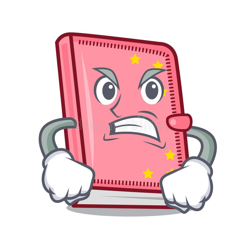 Stile arrabbiato del fumetto della mascotte del diario illustrazione di stock