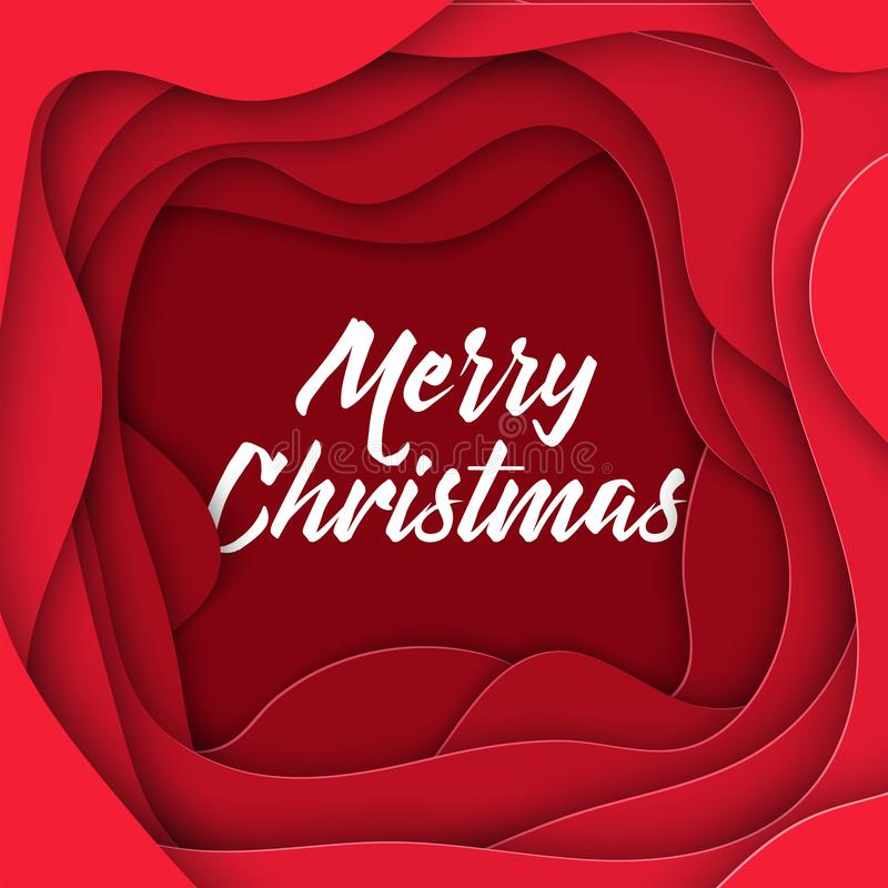 stile astratto della carta di Buon Natale 3D, disposizione di progettazione per le presentazioni di affari, alette di filatoio, m royalty illustrazione gratis
