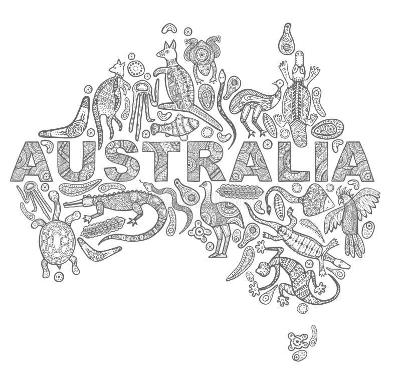 Stile australiano aborigeno dei disegni degli animali sotto forma di mappa dell'Australia royalty illustrazione gratis
